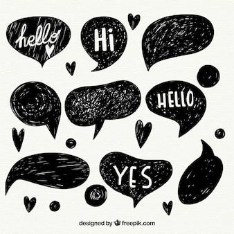 Set de bocetos de globos de diálogo con mensajes
