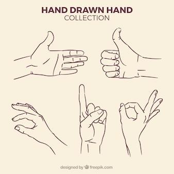 Set de bocetos de manos