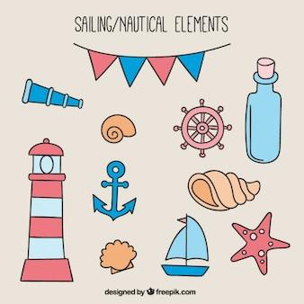 Set de bocetos de objetos marinos