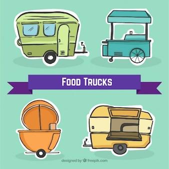 Set de bocetos de pegatinas de camionetas de comida