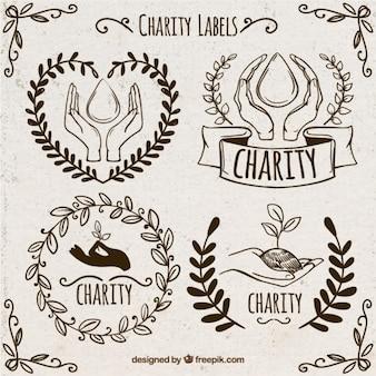 Set de bocetos de pegatinas de donación ornamentales