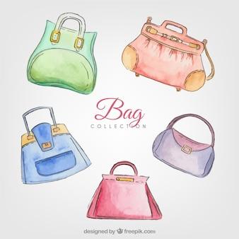 Set de bolsos elegantes pintados con acuarela