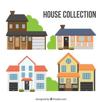 Set de bonitas fachadas de casas en diseño plano