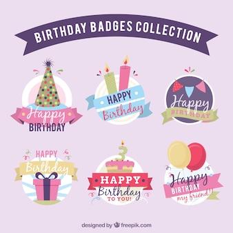 Set de bonitas insignias de cumpleaños