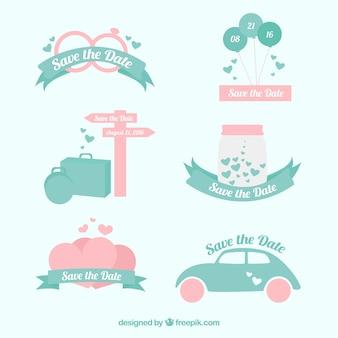 Set de bonitas pegatinas de invitación de boda