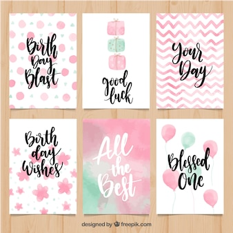 Set de bonitas tarjetas de cumpleaños de acuarela
