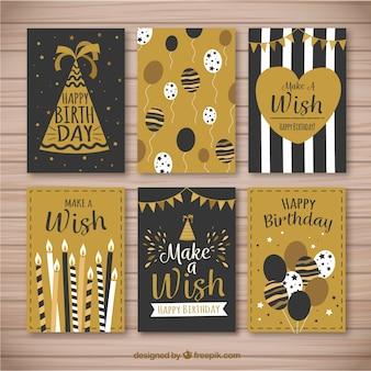Set de bonitas tarjetas de cumpleaños retro