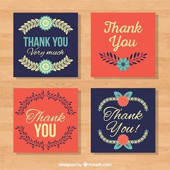 Set de bonitas tarjetas retro de agradecimiento