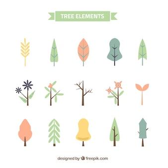 Set de bonitos árboles en estilo vintage