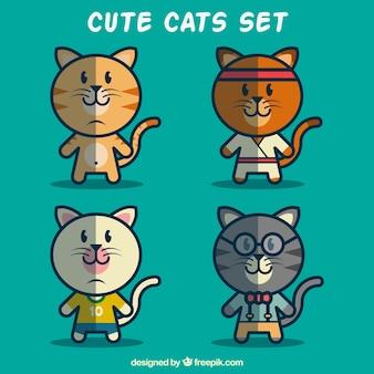Set de bonitos gatos