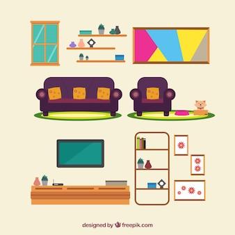 Set de bonitos muebles modernos en diseño plano