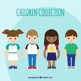 Set de bonitos niños en diseño plano