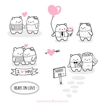 Set de bonitos osos enamorados