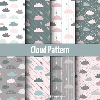 Set de bonitos patrones de nubes de colores pastel