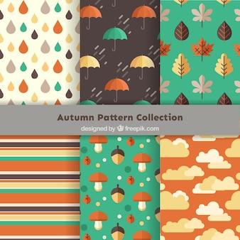 Set de bonitos patrones otoñales en diseño plano
