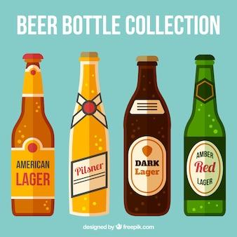 Set de botellas de cervezas en diseño plano