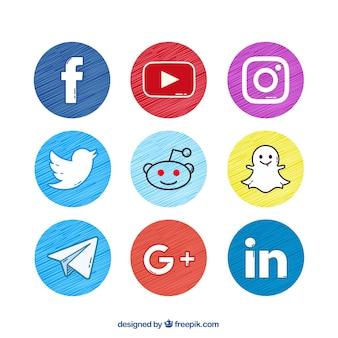 Set de botones de redes sociales pintados a mano