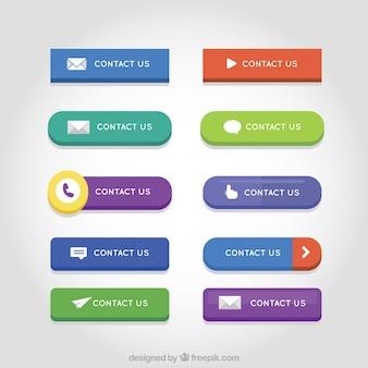 Set de botones web de colores de contacto