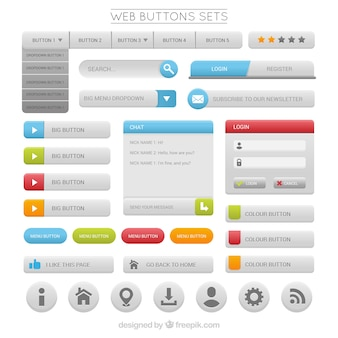 Set de botones web grises