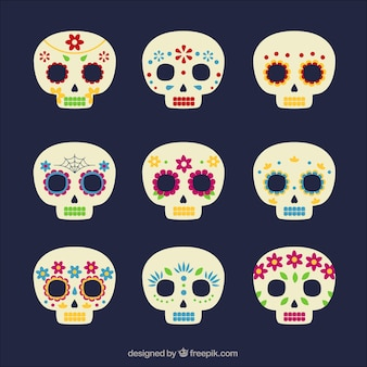 Set de calaveras mexicanas de ornamentos