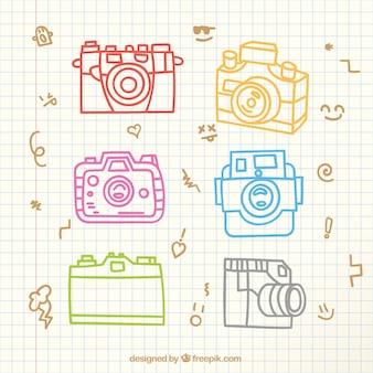 Set de cámaras de foto dibujadas a mano
