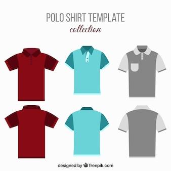 Set de camisetas de polo en diseño plano