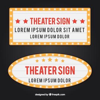 Set de cartel luminoso retro de teatro