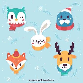 Set de cinco animales de invierno con bufandas