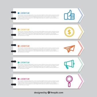 Set de cinco banners infográficos planos con elementos de color
