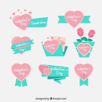 Set de cintas de san valentín con corazones