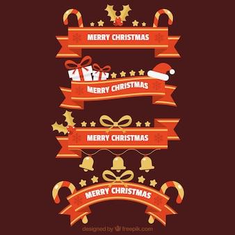 Set de cintas rojas con detalles navideños dorados