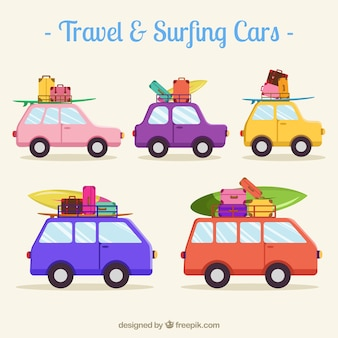 Set de coches de viaje y surf