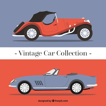 Set de coches vintage de acuarela