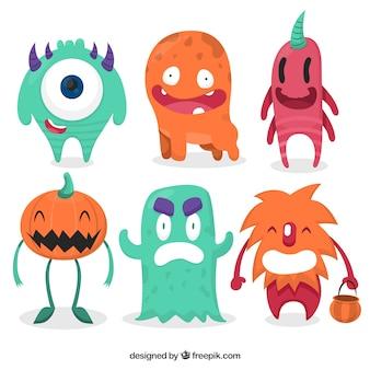 Set de coloridos monstruos de halloween