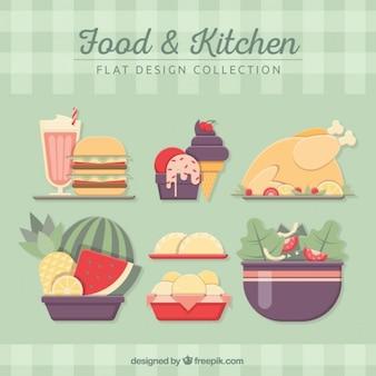 Set de comida plana