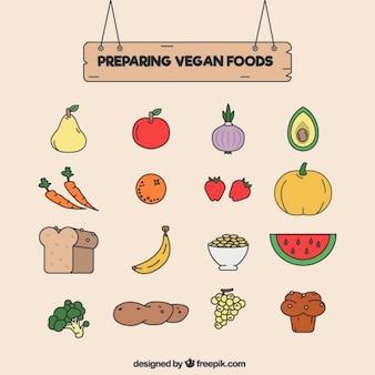 Set de comida vegana dibujada a mano