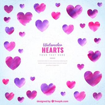 Set de corazones abstractos de acuarela