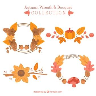 Set de coronas de flores en diseño