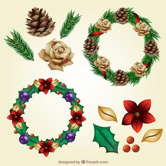 Set de coronas naturales decorativas con detalles navideños