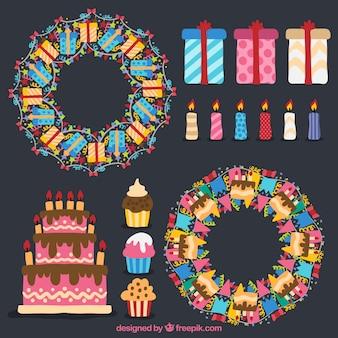 Set de coronas y elementos de cumpleaños