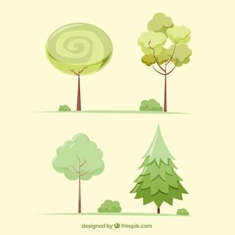 Set de cuatro árboles en tonos verdes