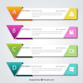 Set de cuatro banners infográficos con formas geométricas coloridas