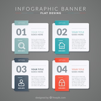 Set de cuatro banners infográficos planos