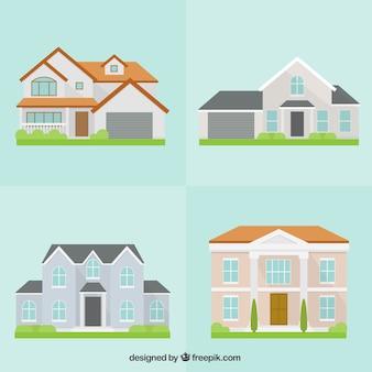 Set de cuatro bonitas casas en diseño plano