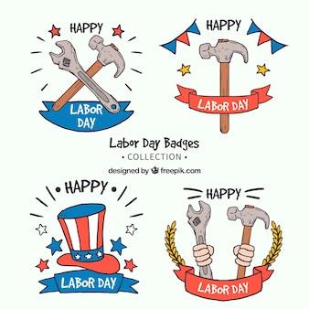Set de cuatro insignias dibujadas a mano americanas del día del trabajo
