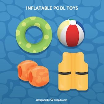 Set de cuatro juguetes de piscina inflables