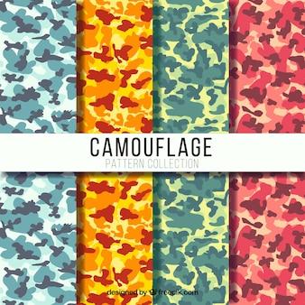 Set de cuatro patrones de camuflaje coloridos