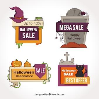 Set de cuatro pegatinas de descuentos de halloween