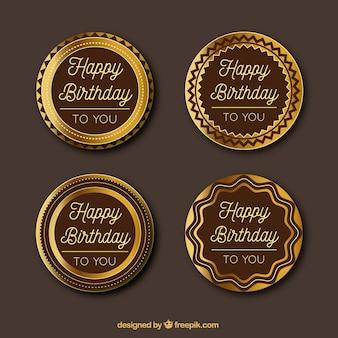 Set de cuatro pegatinas doradas de cumpleaños