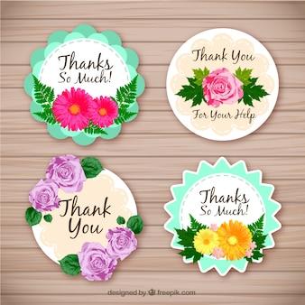 Set de cuatro pegatinas florales de agradecimiento